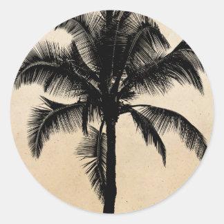 Retro Hawaiian Tropical Palm Tree Silhouette Black Round Sticker