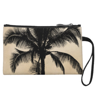 Retro Hawaiian Tropical Palm Tree Silhouette Black Wristlet Purse