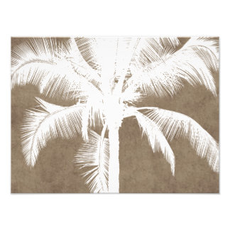 Retro Hawaiian Tropical Palm Tree Silhouette White Photo Art