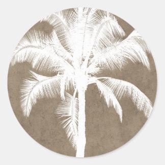 Retro Hawaiian Tropical Palm Tree Silhouette White Round Sticker