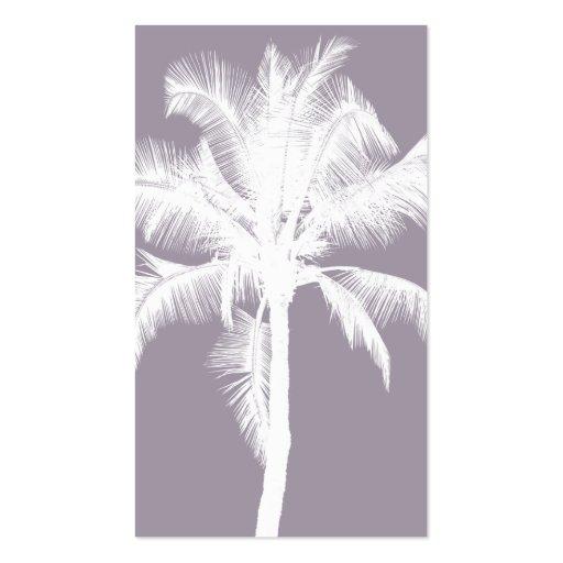 Retro Hawaiian Tropical Palm Tree Vintage Purple Business Card Templates
