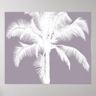 Retro Hawaiian Tropical Palm Tree Vintage Purple Poster