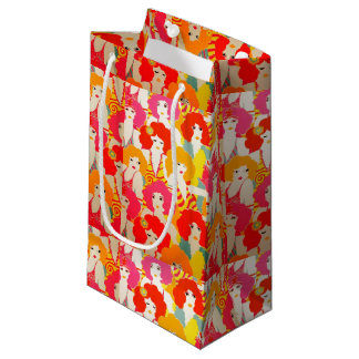 Retro Heads 60s Pattern Small Gift Bag