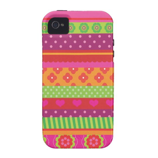 Retro heart flower polka dot design iphone case