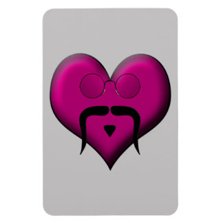 Retro Heart Mustache Flexible Magnet