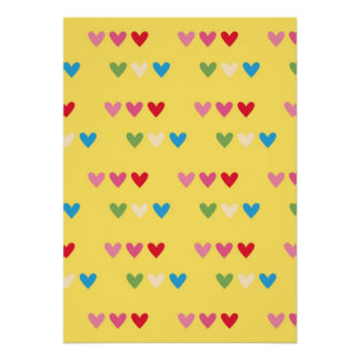 Retro hearts 80s candy striped heart kawaii cute poster