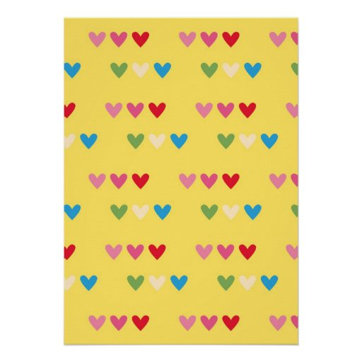 Retro hearts 80s candy striped heart kawaii cute poster