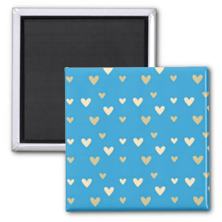 Retro hearts blue candy Fair Isle pattern Square Magnet
