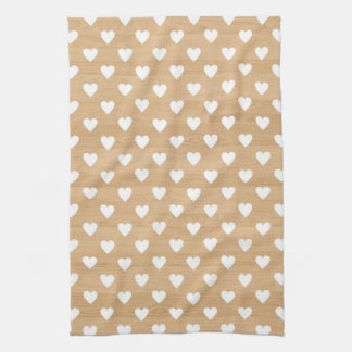 Retro hearts wood background girly heart pattern towels