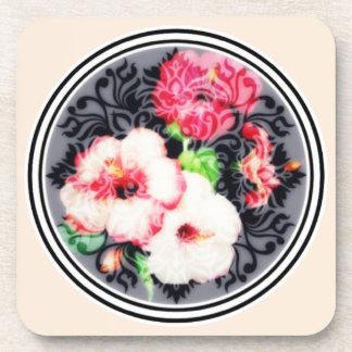 Retro hibiscus medallion on peach coaster