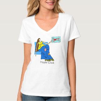 Retro Hippie Chick Design T-shirt