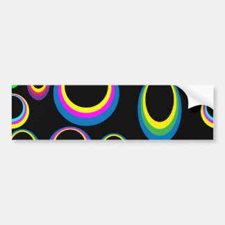 Retro Hippie Colorful Ovals Bumper Sticker