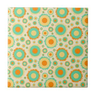 Retro Hippie Dots In Orange Green Tan Ceramic Tile