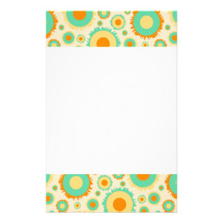 Retro Hippie Dots In Orange, Green, & Tan Stationery