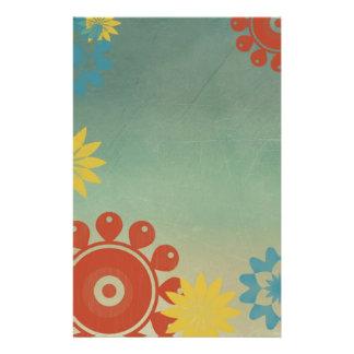 Retro Hippie Flowers Stationery