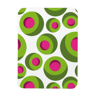 Retro hippie pattern with colored dots rectangular photo magnet