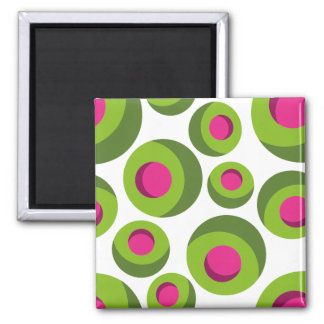 Retro hippie pattern with colored dots square magnet