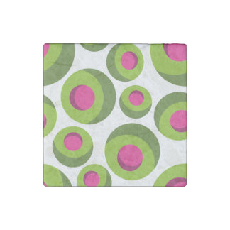 Retro hippie pattern with colored dots stone magnet