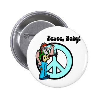 Retro Hippie-Peace Baby 60's Pinback Buttons