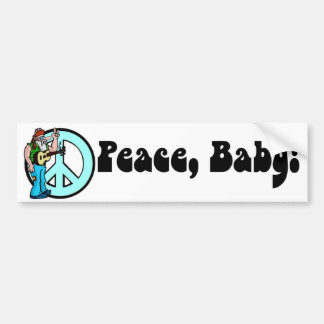 Retro Hippie-Peace Baby 60's Bumper Sticker