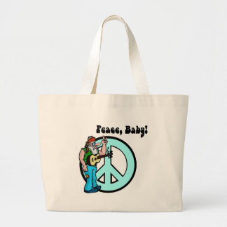 Retro Hippie-Peace Baby 60's Jumbo Tote Bag