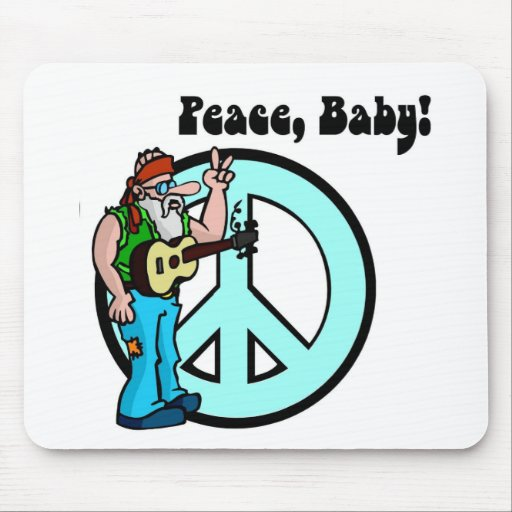 Retro Hippie-Peace Baby 60's Mouse Pad