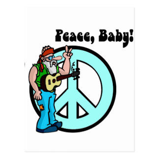 Retro Hippie-Peace Baby 60's Postcard