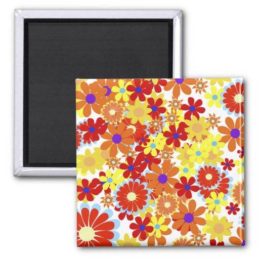 Retro Hippie Peace Flowers Magnet