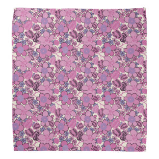 Retro Hippy Style Flower Pattern Bandanna
