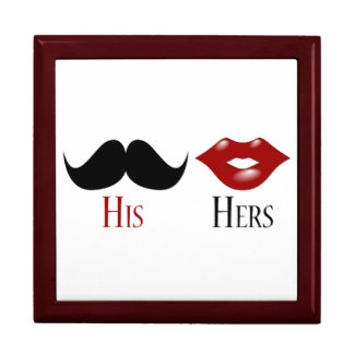 Retro His and Hers Black Handlebar Mustache Large Square Gift Box