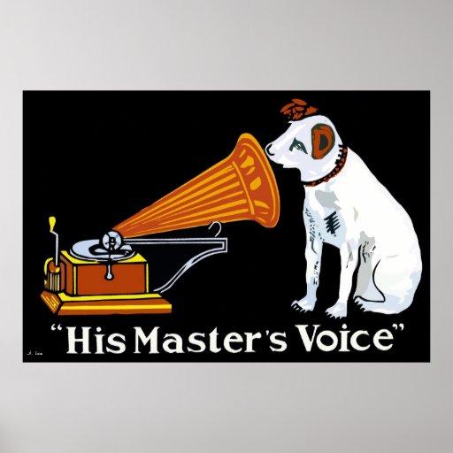 Retro his master's voice gramophone ad posters