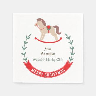 Retro Hobby Horse Wreath Christmas Paper Napkins
