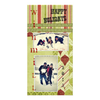 Retro Holiday Card Personalized Photo Card