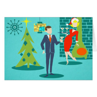 Retro Holiday Cartoon Couple Christmas Card