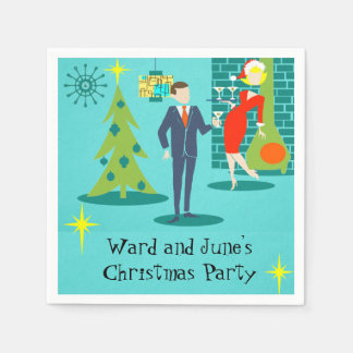 Retro Holiday Cartoon Couple Cocktail Napkins Paper Serviettes