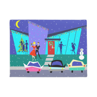 Retro Holiday Cartoon Party Christmas Door Mat