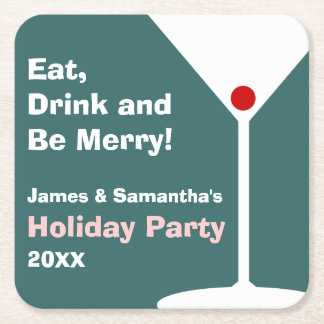 Retro Holiday Cocktail Party Coasters - Dark Teal