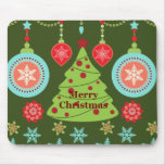 Retro Holiday Merry Christmas Tree Snowflakes Mouse Pad