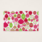 Retro Holiday Ornaments Christmas Pattern Business Card