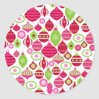 Retro Holiday Ornaments Christmas Pattern Round Sticker