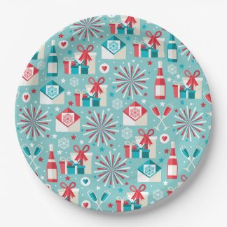 Retro Holiday  Paper Plates 9""