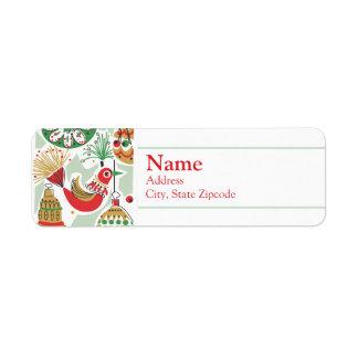 Retro Holiday Return Address Label