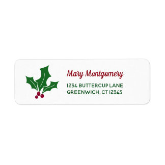 Retro Holly Leaves and Berries Return Address Label