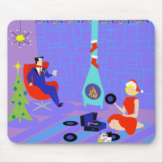 Retro Home for the Holidays Christmas Mousepad