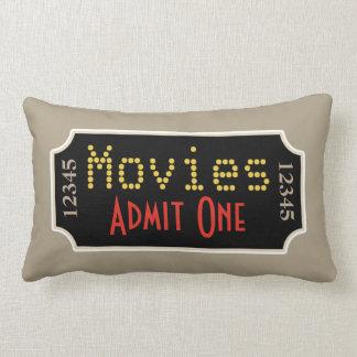 Retro Home Theater Movie Ticket Cinema Pillow