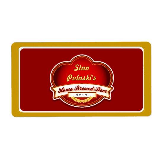 Retro Homebrewed Red Gold Beer Custom Label