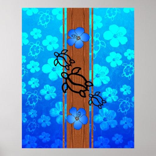 Retro Honu Surfboard Poster