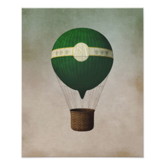 Retro Hot Air Balloon Poster