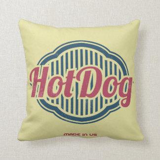 Retro Hot Dog Label Designer Accent Pillows