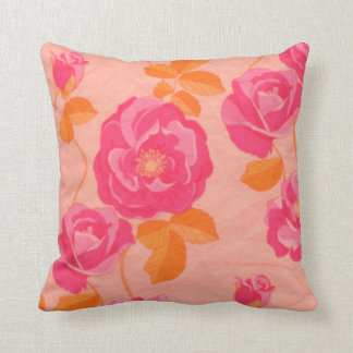 Retro Hot Pink, Orange and Peach Floral Pillow